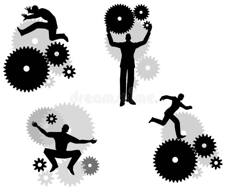 Hombres de negocios con los engranajes ilustración del vector