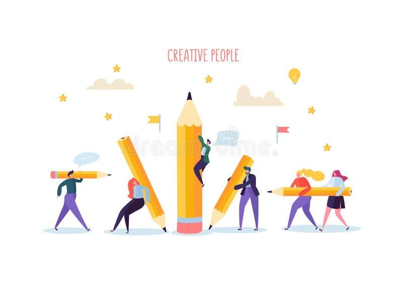 Hombres de negocios con los lápices Los caracteres creativos procesan la organización Hombre de negocios y empresaria con el lápi ilustración del vector