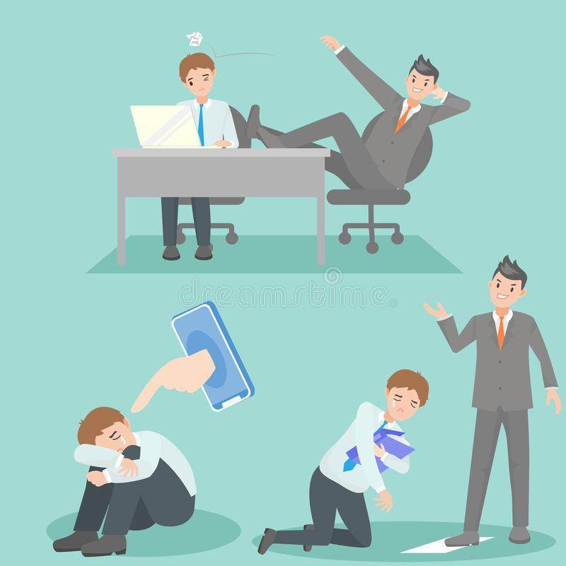 Hombres de negocios con problema que tiraniza ilustración del vector
