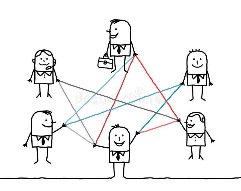 Hombres de negocios conectados por las líneas de color ilustración del vector