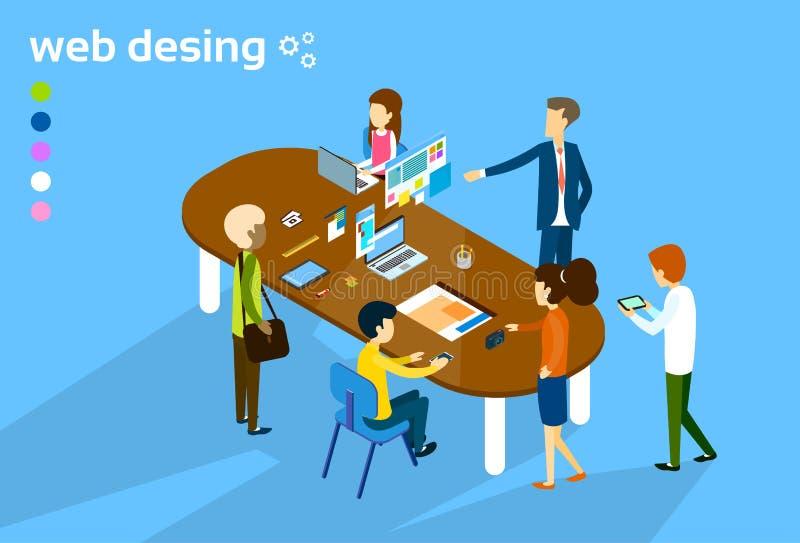 Hombres de negocios de grupo de la reunión del trabajo en equipo del diseñador web de proceso creativo 3d de Digitaces isométrico ilustración del vector
