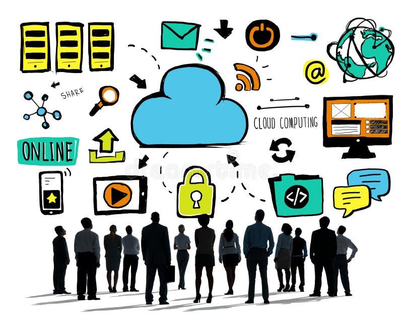 Hombres de negocios de la aspiración computacional Team Concept de la nube libre illustration