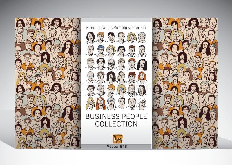 Hombres de negocios de la colección de las caras stock de ilustración