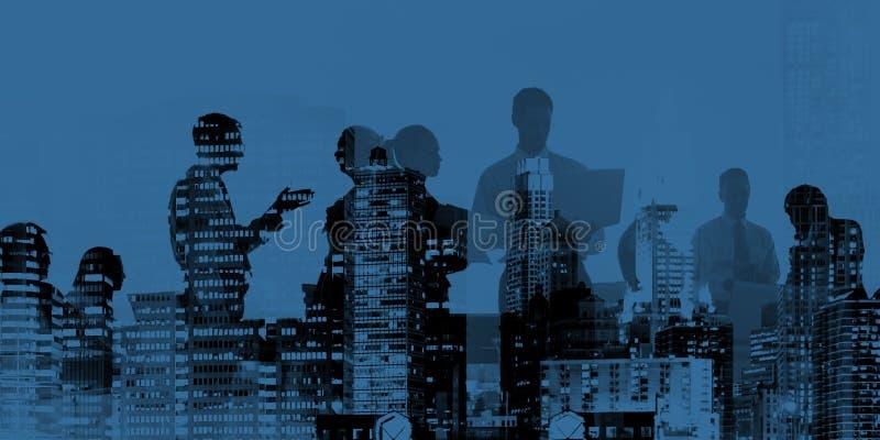 Hombres de negocios de la conexión de la discusión del concepto corporativo de la reunión stock de ilustración