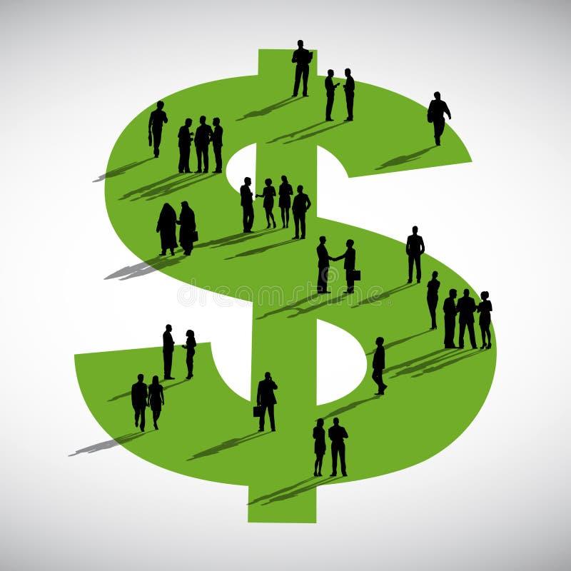 Hombres de negocios de la discusión de la comunidad de dólar del concepto de la muestra libre illustration