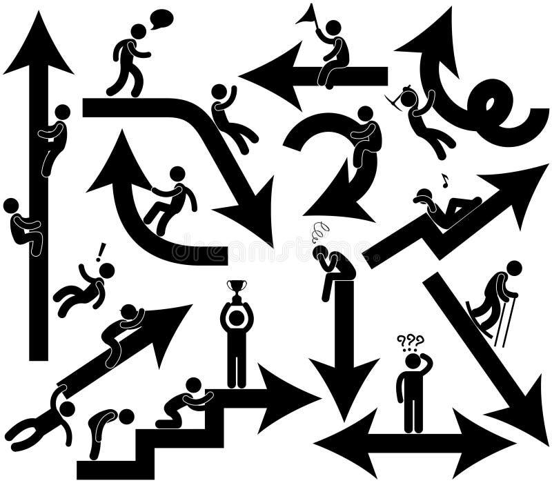 Hombres de negocios de la emoción de la muestra de la flecha libre illustration