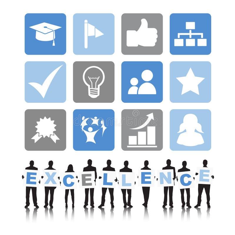 Hombres de negocios de la excelencia de la comunicación del concepto de la eficacia stock de ilustración