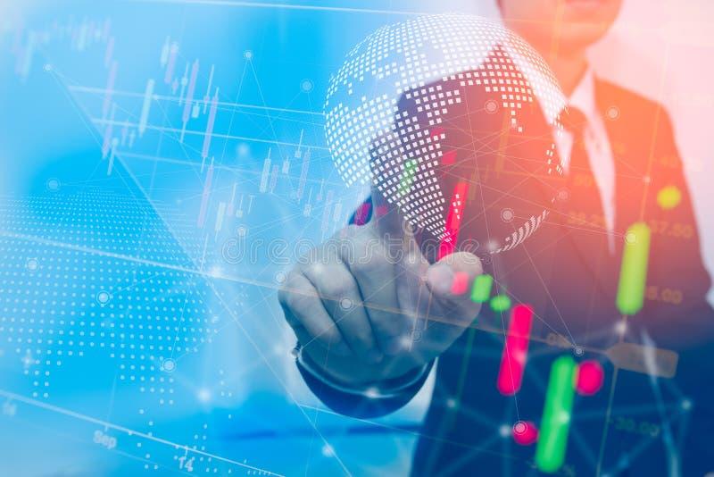 Hombres de negocios de la exposición doble Mercados de acción financieros o concepto de la carta de negocio del fondo de la estra fotos de archivo
