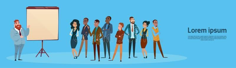 Hombres de negocios de la presentación Flip Chart, empresarios Team Training Conference Meeting del grupo stock de ilustración