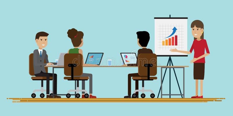 Hombres de negocios de la sala de reunión del grupo stock de ilustración