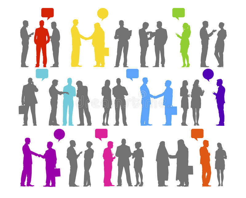 Hombres de negocios de la silueta de la conexión del concepto de la colaboración ilustración del vector