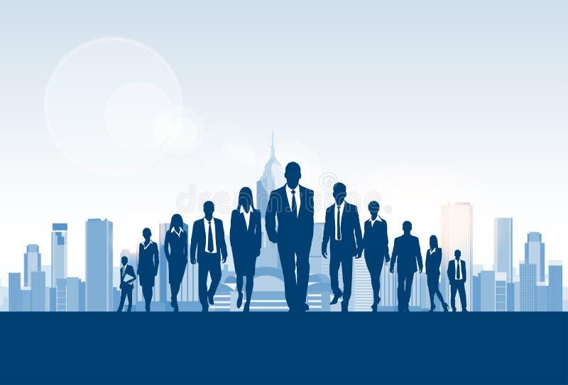Hombres de negocios de la silueta del grupo, empresarios stock de ilustración
