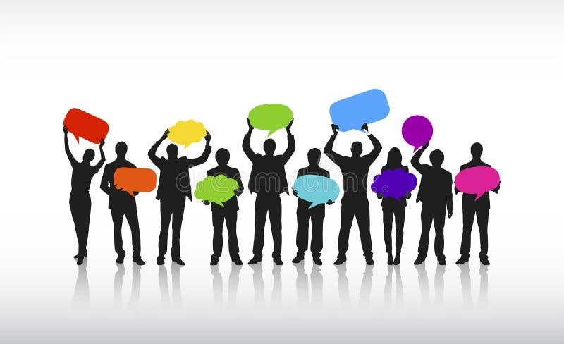 Hombres de negocios de las comunicaciones del concepto de la organización stock de ilustración