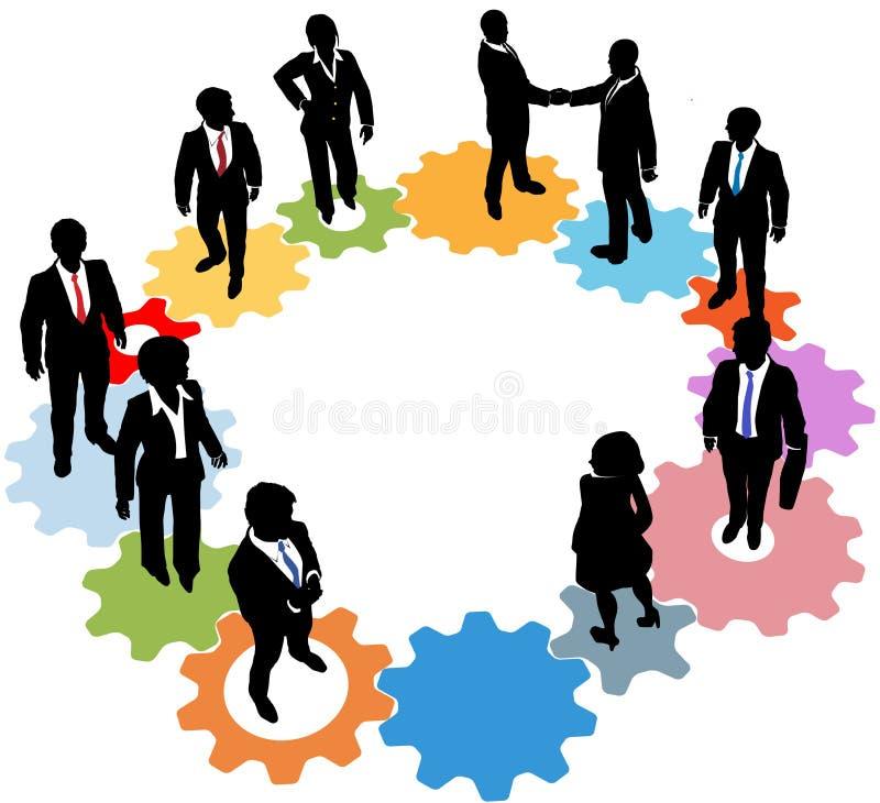 Hombres de negocios de las personas de los engranajes de la tecnología stock de ilustración