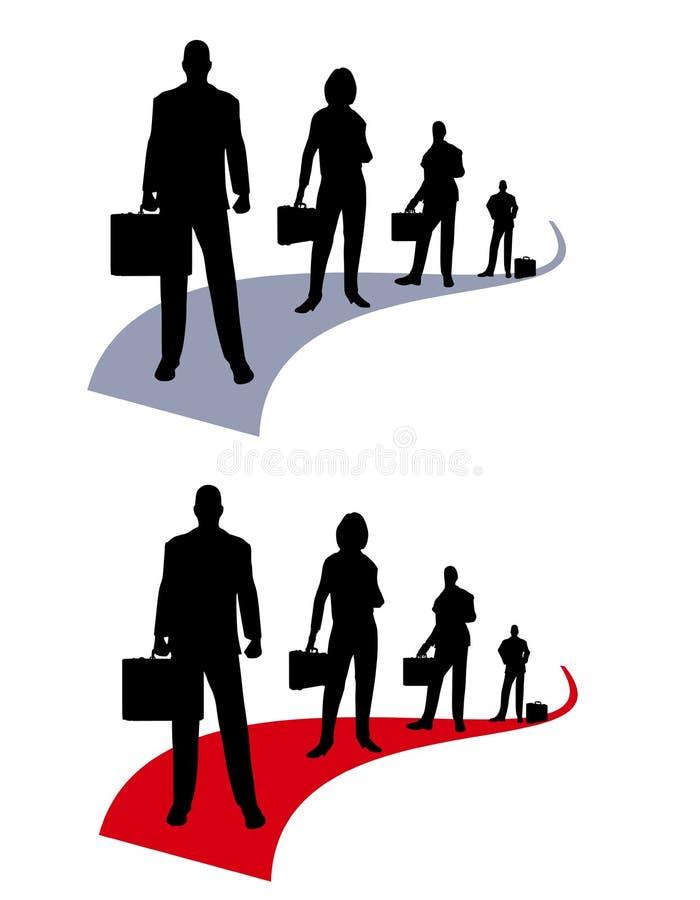 Hombres de negocios de las personas Swooshes stock de ilustración