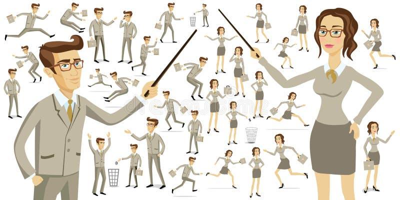 Hombres de negocios de las siluetas de los hombres de negocios de las siluetas de las mujeres del trabajo de los hombres libre illustration