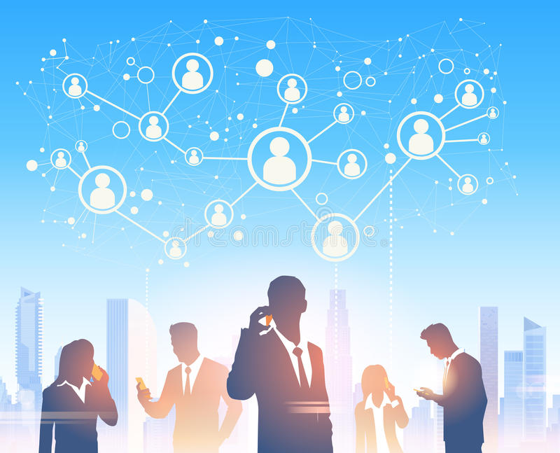 Hombres de negocios de las siluetas del grupo sobre red moderna del Social de la oficina del paisaje de la ciudad libre illustration