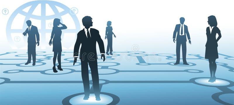 Hombres de negocios de las siluetas del netwo de las comunicaciones ilustración del vector