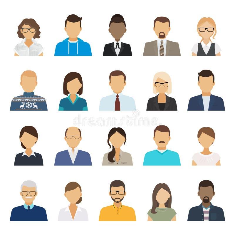 Hombres de negocios de los avatares planos libre illustration