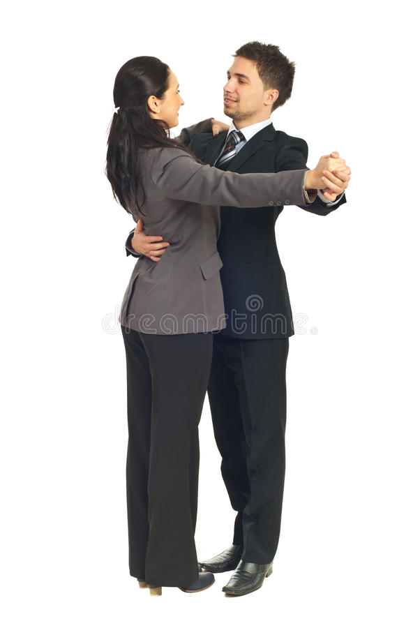Hombres de negocios de los colegas que bailan el vals fotos de archivo