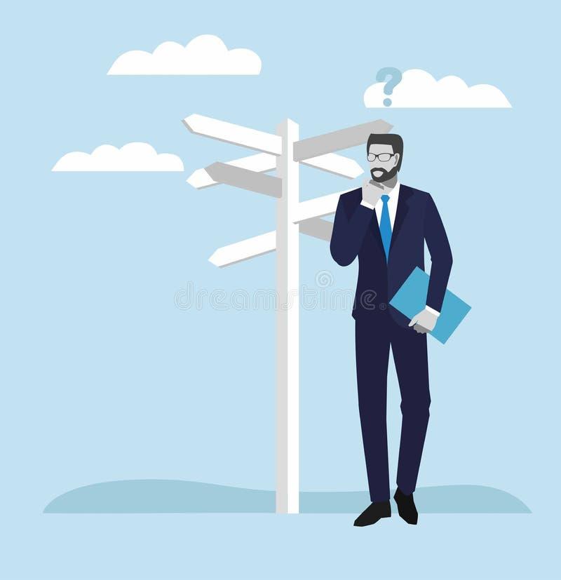 Hombres de negocios de los conceptos Hombre de negocios que se coloca en un cruce y que mira flechas direccionales de las muestra stock de ilustración