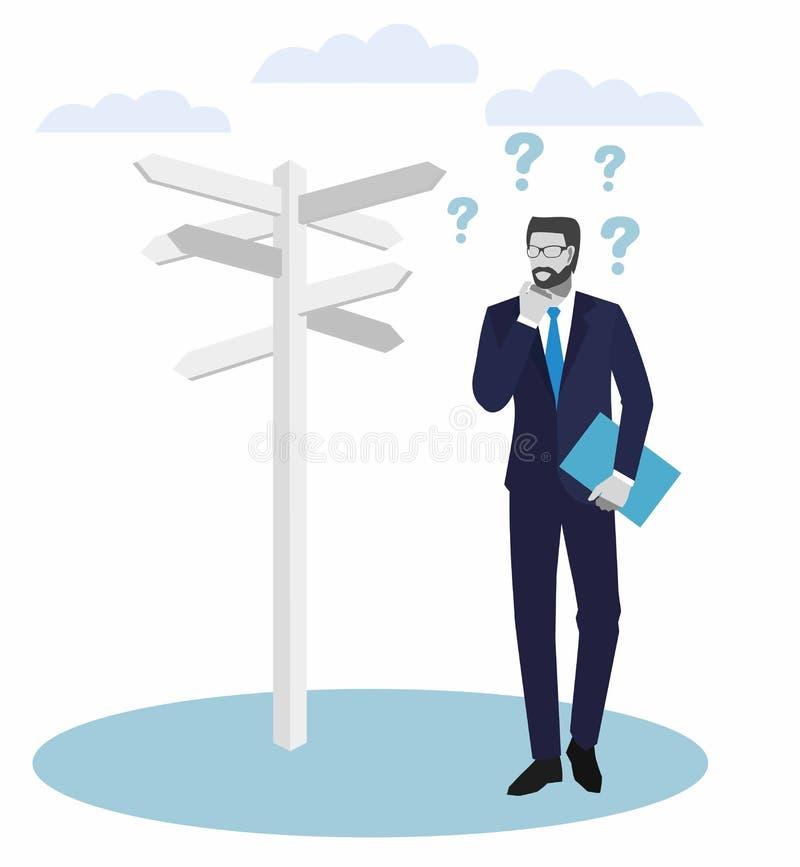Hombres de negocios de los conceptos Hombre de negocios que se coloca en un cruce y que mira flechas direccionales de las muestra libre illustration