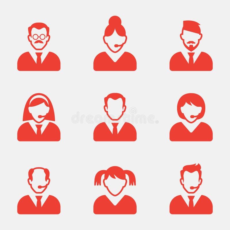 Hombres de negocios de los iconos del avatar Ilustración del vector Icono de la muestra del usuario Símbolo de la persona stock de ilustración