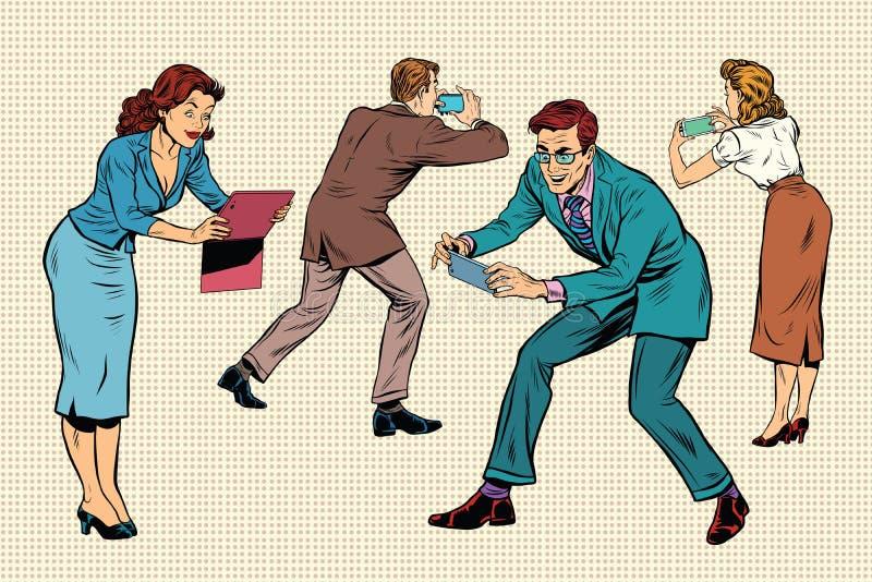 Hombres de negocios de los juegos onlines del juego en smartphones y tabletas ilustración del vector