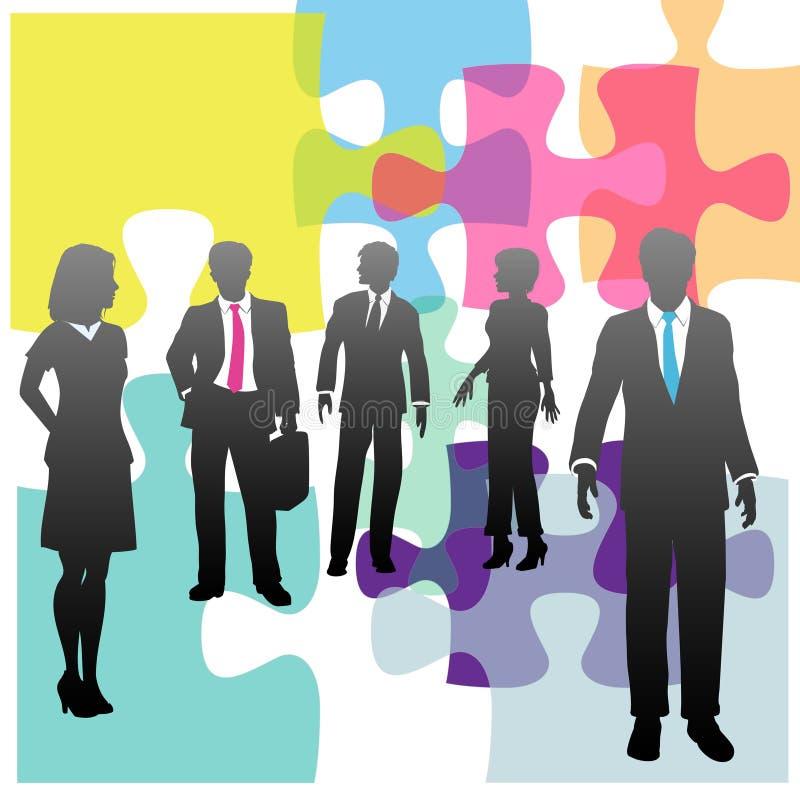Hombres de negocios de los recursos humanos del rompecabezas de la solución ilustración del vector