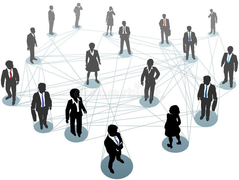 Hombres de negocios de red de los nodos de la conexión ilustración del vector
