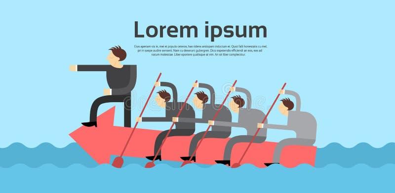 Hombres de negocios de Team Leader Swim On Arrow Boss Teamwork Concept libre illustration