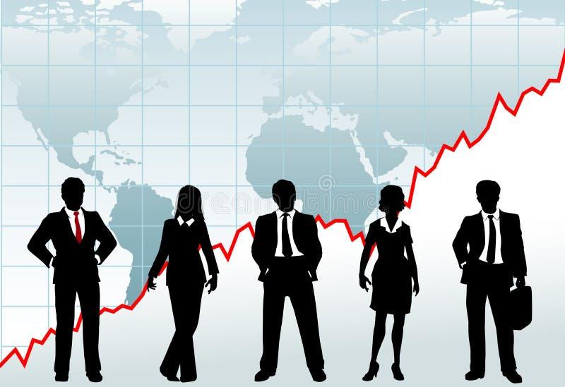 Hombres de negocios del éxito de la carta del mundo global del crecimiento stock de ilustración