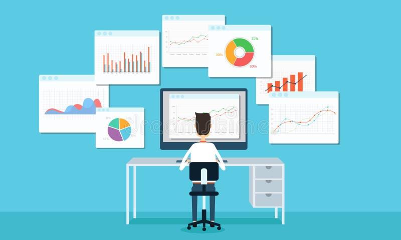 hombres de negocios del analytics del gráfico de negocio y seo en el web libre illustration