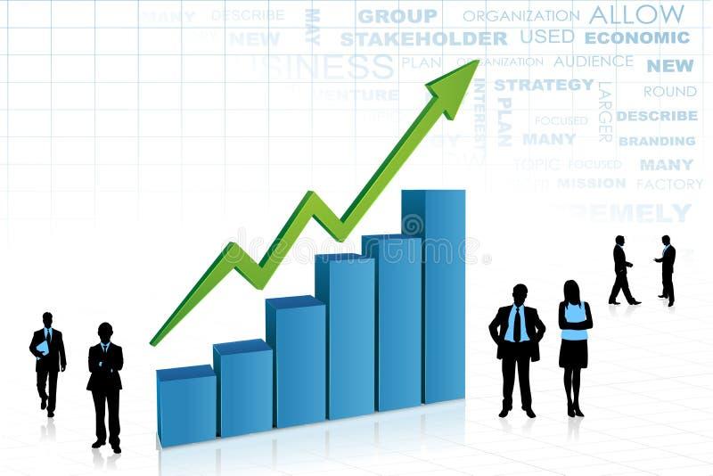 Hombres de negocios del aorund del gráfico de barra ilustración del vector