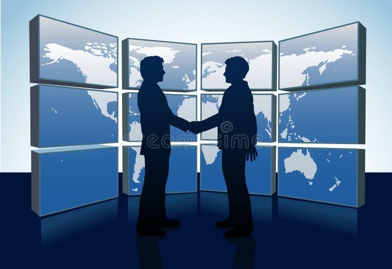 Hombres de negocios del apretón de manos de mundo de los monitores de la correspondencia stock de ilustración