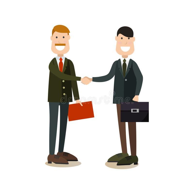 Hombres de negocios del apretón de manos del ejemplo del vector en estilo plano libre illustration