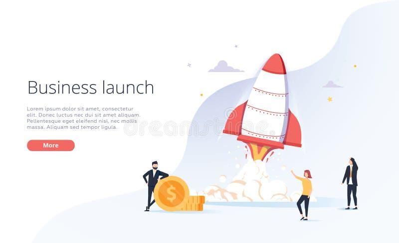 Hombres de negocios del cohete del launche en el cielo Crecimiento del asunto El negocio o el inicio de las TIC, comienza para ar ilustración del vector
