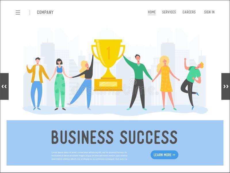 Hombres de negocios del concepto del éxito, dirección, plantilla de la página del aterrizaje del logro Carácter del hombre de neg ilustración del vector