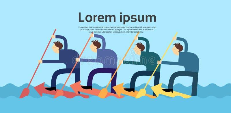 Hombres de negocios del concepto de Team Swim On Arrow Teamwork ilustración del vector