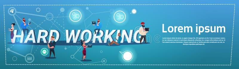 Hombres de negocios del concepto de trabajo de Team Overworked Mix Race Hard stock de ilustración