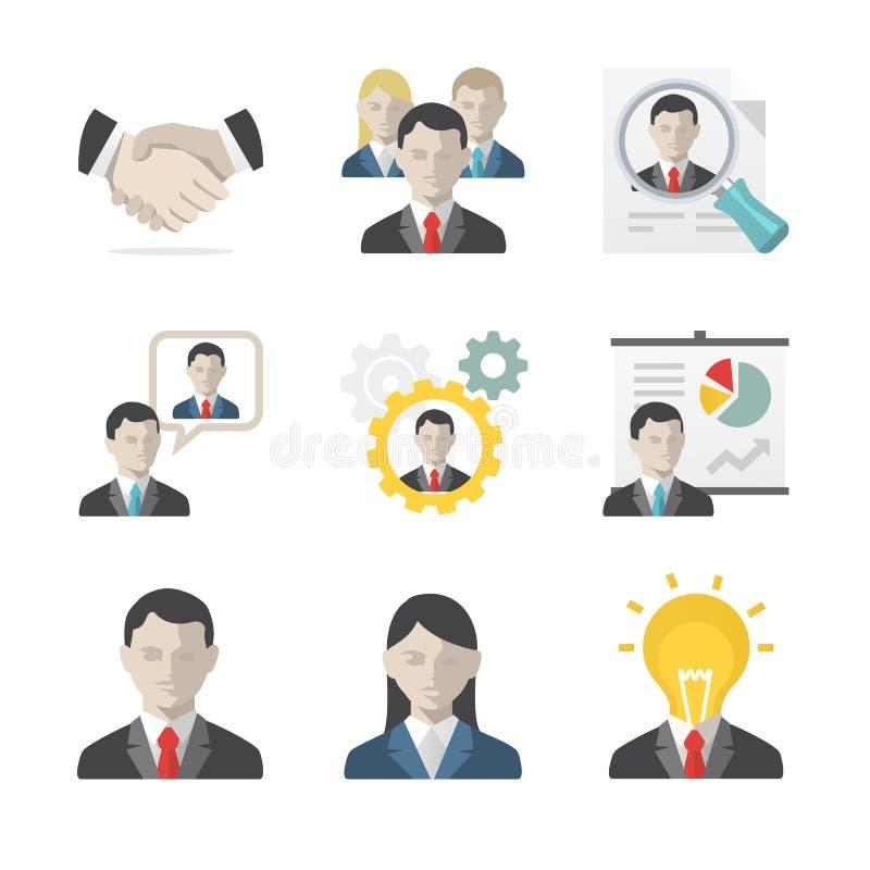 Hombres de negocios del conjunto del icono stock de ilustración