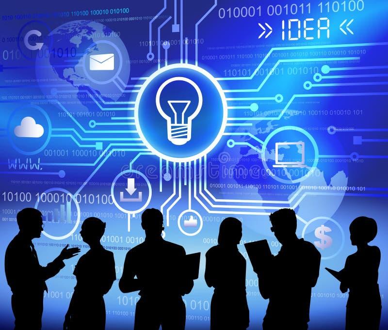 Hombres de negocios del establecimiento de una red de la tecnología de la idea del concepto de la creatividad libre illustration