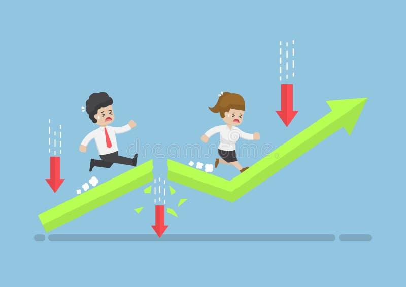 Hombres de negocios del funcionamiento al top del gráfico con obstáculo aventurado ilustración del vector