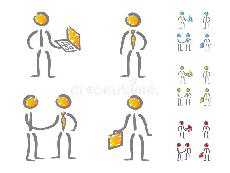 Hombres de negocios del garabato de los iconos ilustración del vector