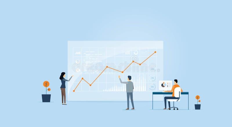 Hombres de negocios del gráfico del analytics en monitor stock de ilustración