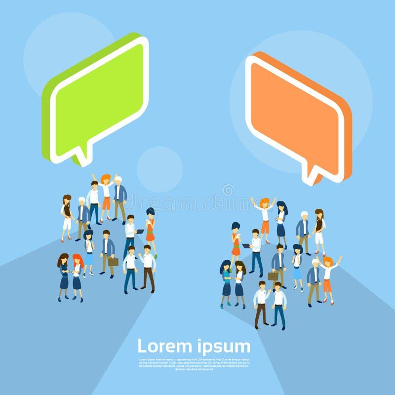 Hombres de negocios del grupo de la burbuja Team Communication Teamwork 3d de la charla isométrico libre illustration