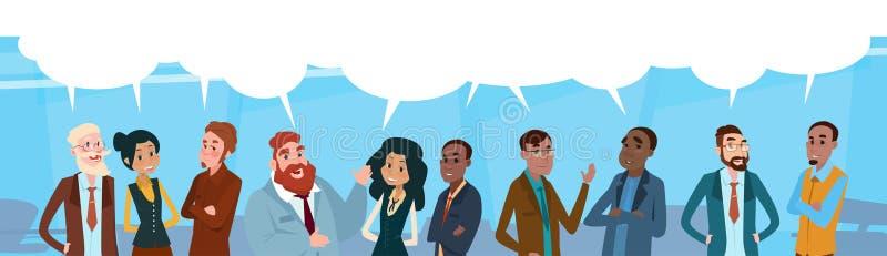 Hombres de negocios del grupo de la charla de la burbuja de la comunicación, empresarios que discuten la red social libre illustration