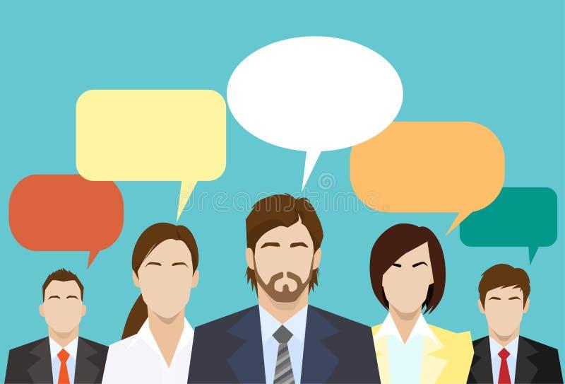 Hombres de negocios del grupo de la comunicación global de la charla ilustración del vector