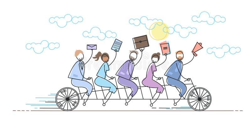 Hombres de negocios del grupo del montar a caballo de la bici del concepto del trabajo en equipo libre illustration