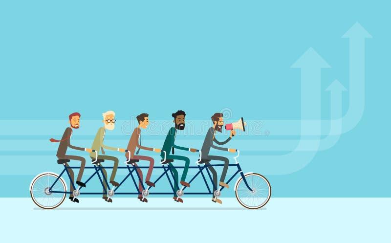 Hombres de negocios del grupo del montar a caballo del trabajo en equipo de la bici ilustración del vector